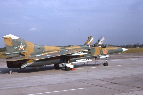 Hungarian MiG-23UB Flogger-C Camouflage at Pápa air base in 1990. Photo: Viroli Elio
