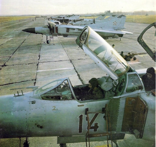 Hungarian MiG-23 Floggers in light-gray color scheme at Pápa airbase