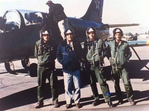 Young Hungarian pilots and his soviet trainer in front of theirs L-39C Albatros in Tokmak air base in 1984