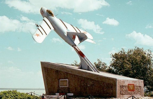Preserved M-17M (MiG-17) Fresco-A target drone at the Priozersk city  Sary Shagan