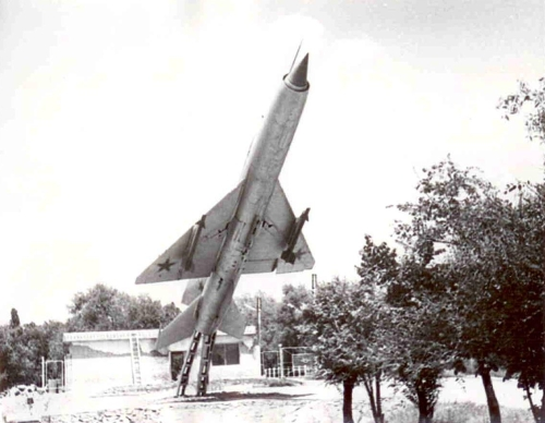 Soviet memorial MiG-21PF or early FL Fishbed-D version in Lugovaya