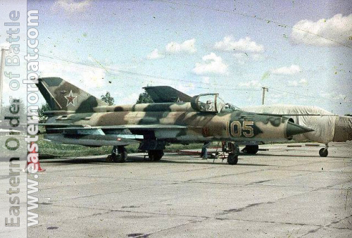 Soviet Tactical Air Force's MiG-21SM Fishbed-J trainer aircraft in camouflage