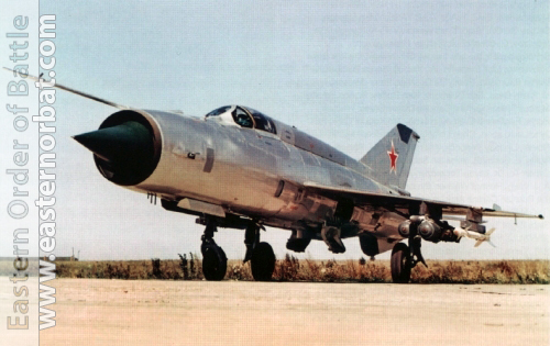 Soviet prototype MiG-21SM Fishbed-J with MBD-2-67 multiple bomb rack