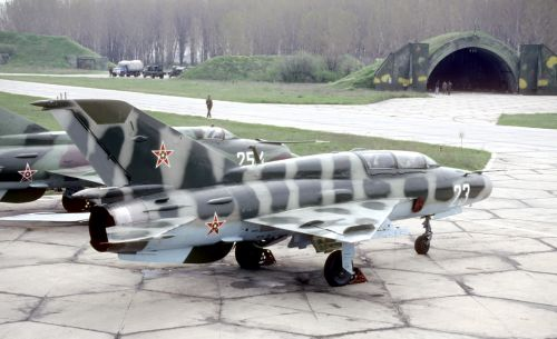 The Bulgarian MiG-21UM MongolB and MiG-21bis Fishbed-N at Graf Ignatievo airport in 1991
