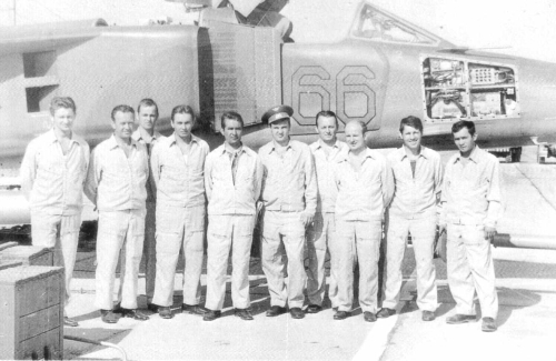 First group of Czechoslovak Air Force's pilots and soviet instructor in front of theirs MiG-23BN Flogger-H foghter-bomber aircraft in Lugovaya in 1977. Photo: HEMA