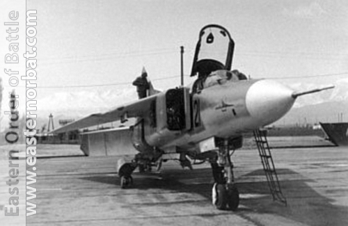 Soviet MiG-23MS Flogger-E export fighter version in Lugovaya airport. In the background the snowy peaks of the Tien-San.