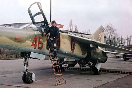 Polish pilot with MiG-23UB Flogger-C at Lugovaya air base in 1979