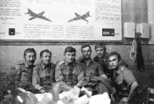 Soviet 129th Fighter bomber air regiment's crews in Taldy Kurgan