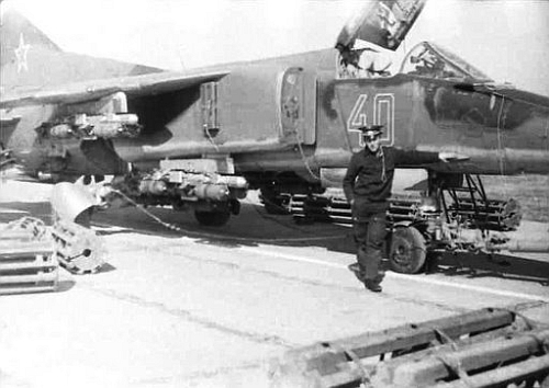 Soviet 129th Fighter bomber ait regiment's 3rd squadron's MiG-27 Flogger-D weapons in Taldy Kurgan in 1982