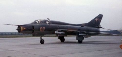 Hungarian Su-22UM3 Fitter-G reconnaissance-bomber trainer type at Taszár air base in eighteen. Photo: Gibás Andor