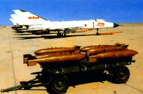 Shenyang J-8B Finback-B, a 1st Fighter Division / 1st Air Regiment aircraft, is seen here with assorted external stores, including PL-5 left and PL-8 AAMs rights, unguided rocket Type 57-1 and Type 90-1 FFAR pods, and 250-kg low-drag free-fall bombs, plus a GDJ-4 multiple ejector rack.