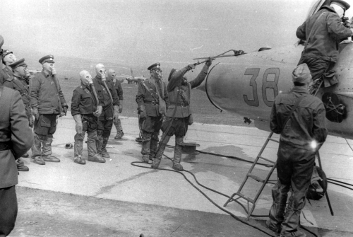 Chemical, biological, radiological and nuclear defense training with MiG-21PFS Fishbed-F aircraft at the 159th Fighter Air Regiment at the Cherlyany airport in the sixties.