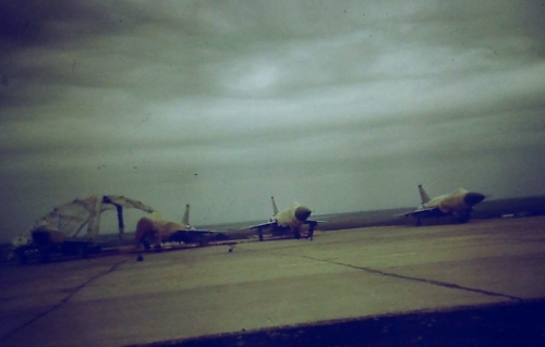 The Soviet 57th Guard Fighter Air Regiment Su-15TM 'Flagon-F'interceptors at the Norilsk airport at the end of the eighties.