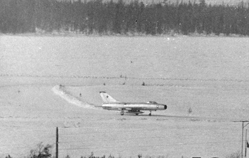 USSR Su-9 Fishpot-A high speed interceptor at the Monchegorsk airport in winter
