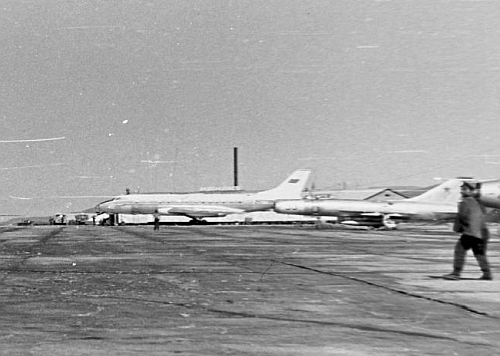 Soviet Tu-124 airliner and two  Su-9 'Fishpot-A' high speed interceptor at the Kilpajarv airport