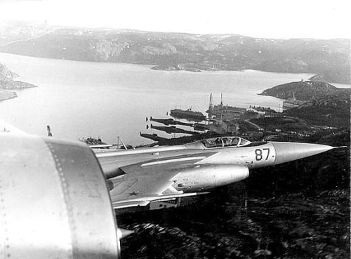 Two Yak-28P 'Firebar' interceptor planes of the 174th Guard Fighter Air regiment over Kola Peninsula