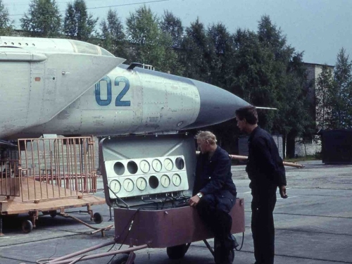 Soviet MiG-25PDS Foxbat-E high-speed fighter at the Letneozerski airport