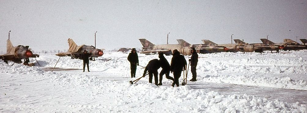 Soviet MiG-21SMT Fishbed-K air traffic control training aircrafts at Bagerovo airport In the winter of 1987