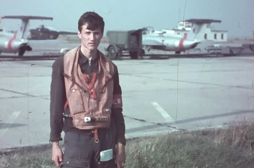 Soviet cadet in front of L-29 Delfin trainer aircraft at Bagerovo airport