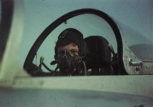 Soviet cadet in L-29 Delfin trainer aircraft at Bagerovo airport in 1986