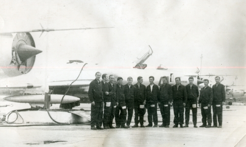 The 523rd Fighter-Bomber Air Regiment's pilots front of their Su-17 basic Fitter-Cs in Soviet Far Eastern.