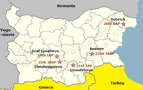 Bulgarian Air Force order of battle map