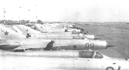 Soviet Air Force 27th Guard Fighter Air Regiment MiG-21PFS and  MiG-21PFM Fishbed-F in Kant airbase in 1973